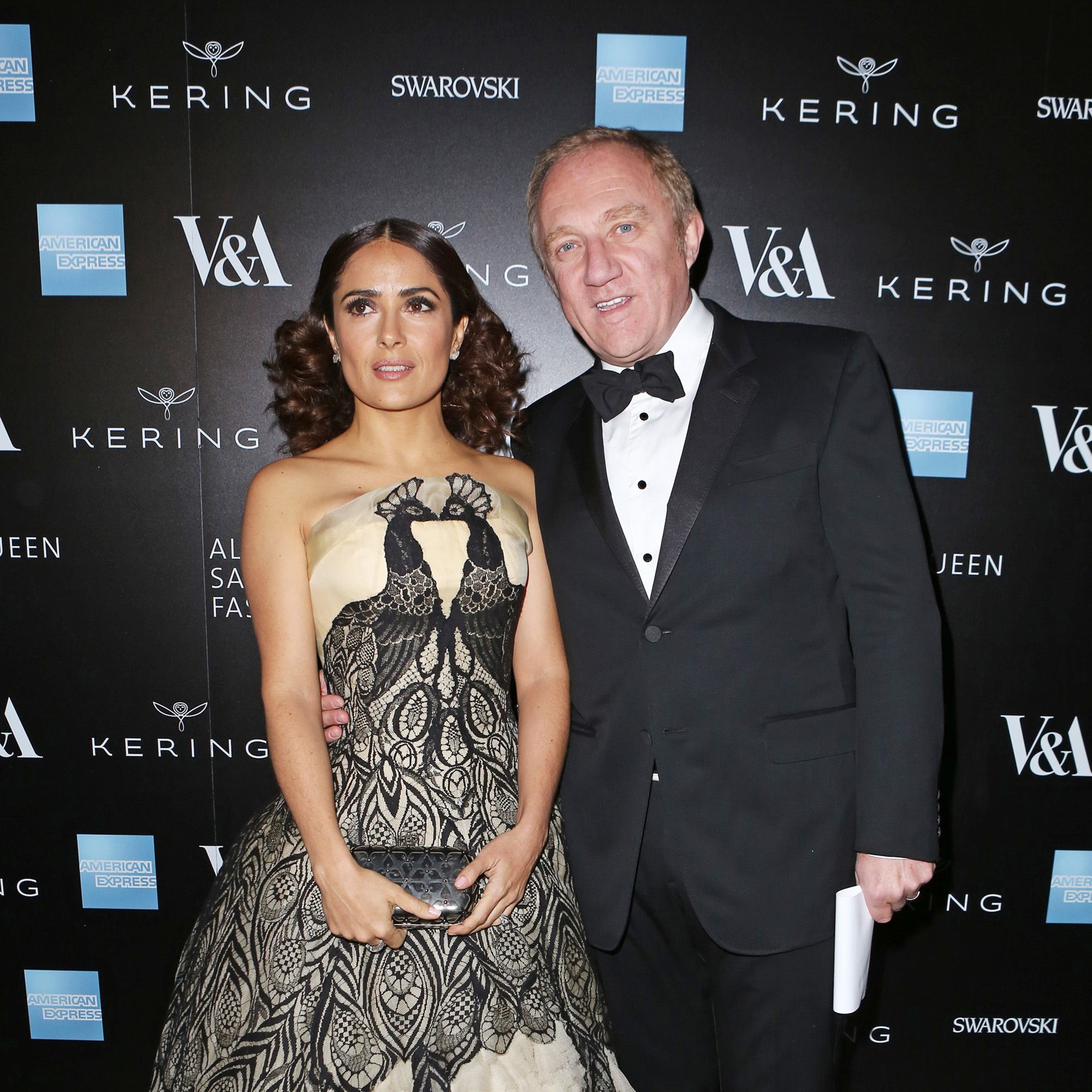 LONDON, ENGLAND - MARCH 12:  Salma Hayek (L) and Francois Henri Pinault arrive at the Alexander McQueen: Savage Beauty Fashion Gala at the V&amp&#x3B;A, presented by American Express and Kering on March 12, 2015 in London, England.  (Photo by David M. Benett/Getty Images for Victoria and Albert Museum)