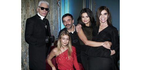 Karl Lagerfeld, Gigi Hadid, Riccardo Tisci, Selena Gomez and Carine Roitfeld