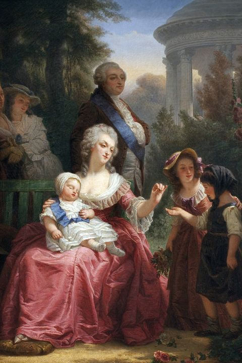 Louis XVI of France 1754-1793 and Marie Antoinette 1755-1793, in the Gardens of Versailles, by French painter Charles Louis Lucien Muller 1815-1892. Oil on canvas, 97 x 75.5 cm, c.1860. Musee des Beaux Arts Museum of Fine Arts, Libourne, France. (Photo by: Leemage/UIG via Getty Images)