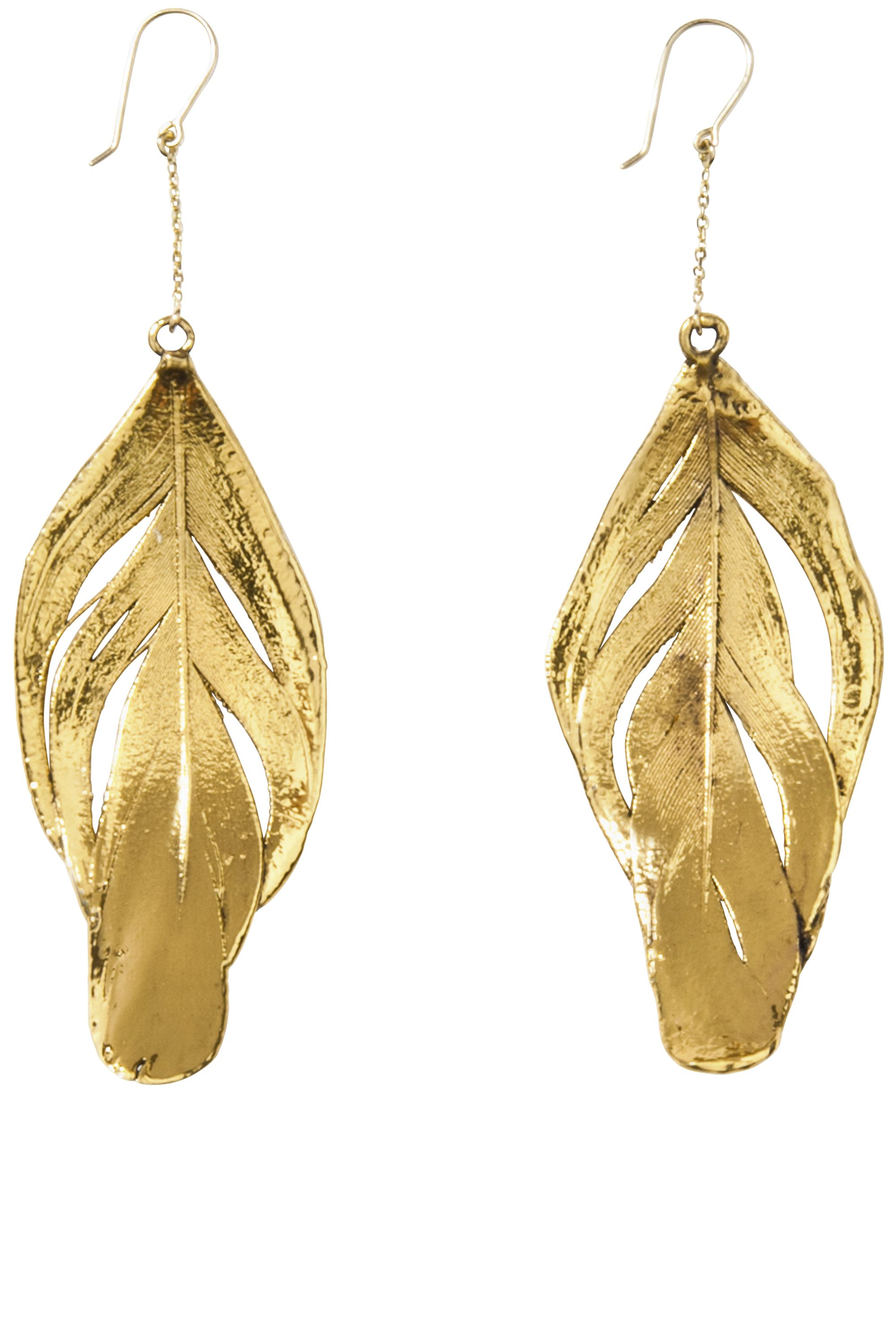 "<strong>Aurelie Bidermann </strong>earrings, $905,<a href=""http://shop.harpersbazaar.com/designers/aurelie-bidermann/swan-feather-earrings/""> shopBAZAAR.com</a><img src=""http://assets.hdmtools.com/images/HBZ/Shop.svg"" class=""icon shop"">."