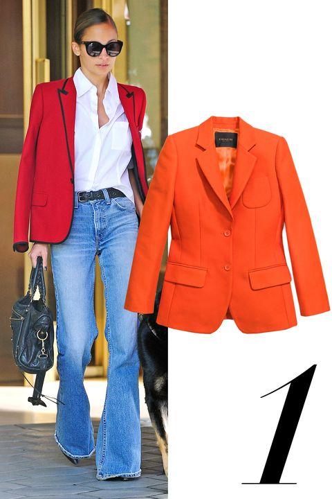"""<em>Coach Cotton jacket, $695, <a href=""""http://www.coach.com/coach-designer-vest-cotton-suit-jacket/85889.html?dwvar_color=ORG&amp;cgid=women-clothing-outerwear&amp;cid=D_B_HBZ_8888"""">coach.com</a></em>"""