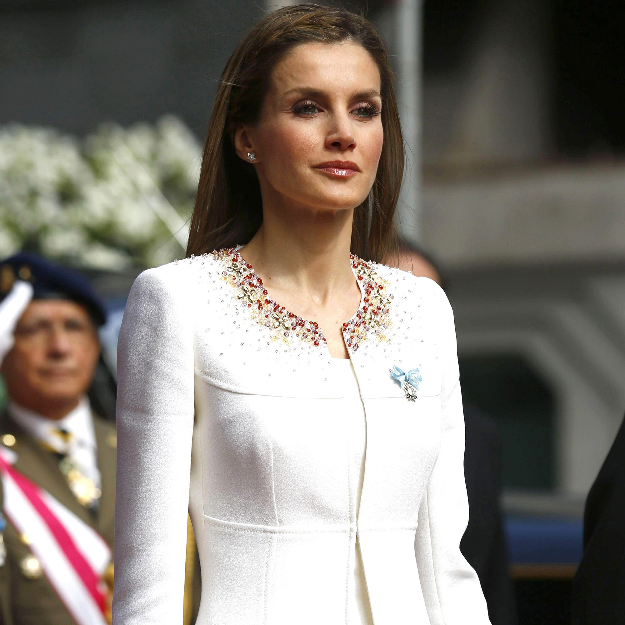 MADRID, SPAIN - JUNE 19: Queen Letizia of Spain arrives at the Congress of Deputies prior to the King's official coronation ceremony on June 19, 2014 in Madrid, Spain. The coronation of King Felipe VI is held in Madrid. His father, the former King Juan Carlos of Spain abdicated on June 2nd after a 39 year reign. The new King is joined by his wife Queen Letizia of Spain.  (Photo by Sergio Barrenechea /EFE - Pool Getty Images)
