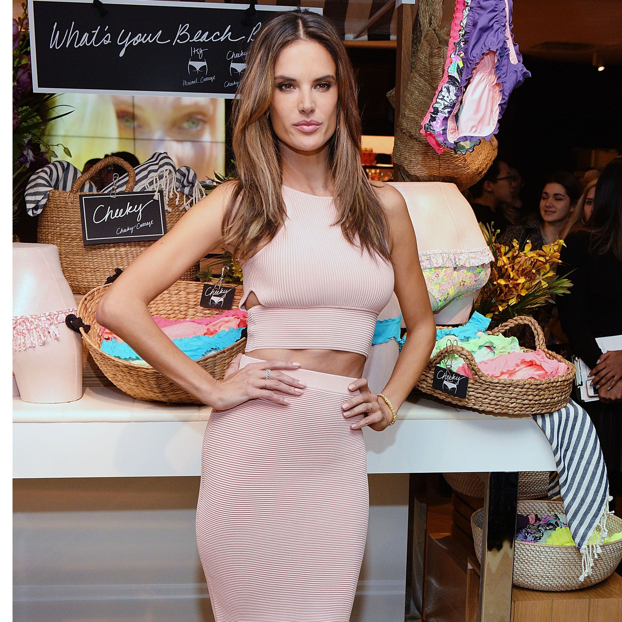 NEW YORK, NY - FEBRUARY 25:  Victoria's Secret Angel Alessandra Ambrosio celebrates the sexiest Push-ups and The Victoria's Secret Swim Special at Victoria's Secret Herald Square on February 25, 2015 in New York City.  (Photo by Grant Lamos IV/Getty Images)