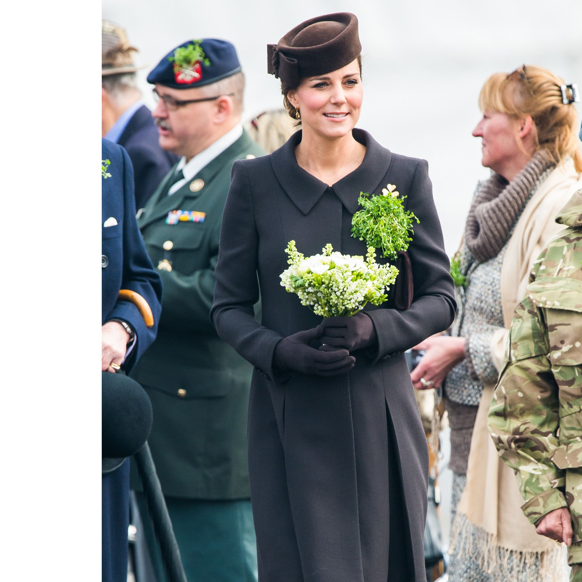 ALDERSHOT, ENGLAND - MARCH 17:  Catherine, Duchess of Cambridge attends the St Patrick's Day Parade at Mons Barracks on March 17, 2015 in Aldershot, England.  (Photo by Samir Hussein/WireImage)