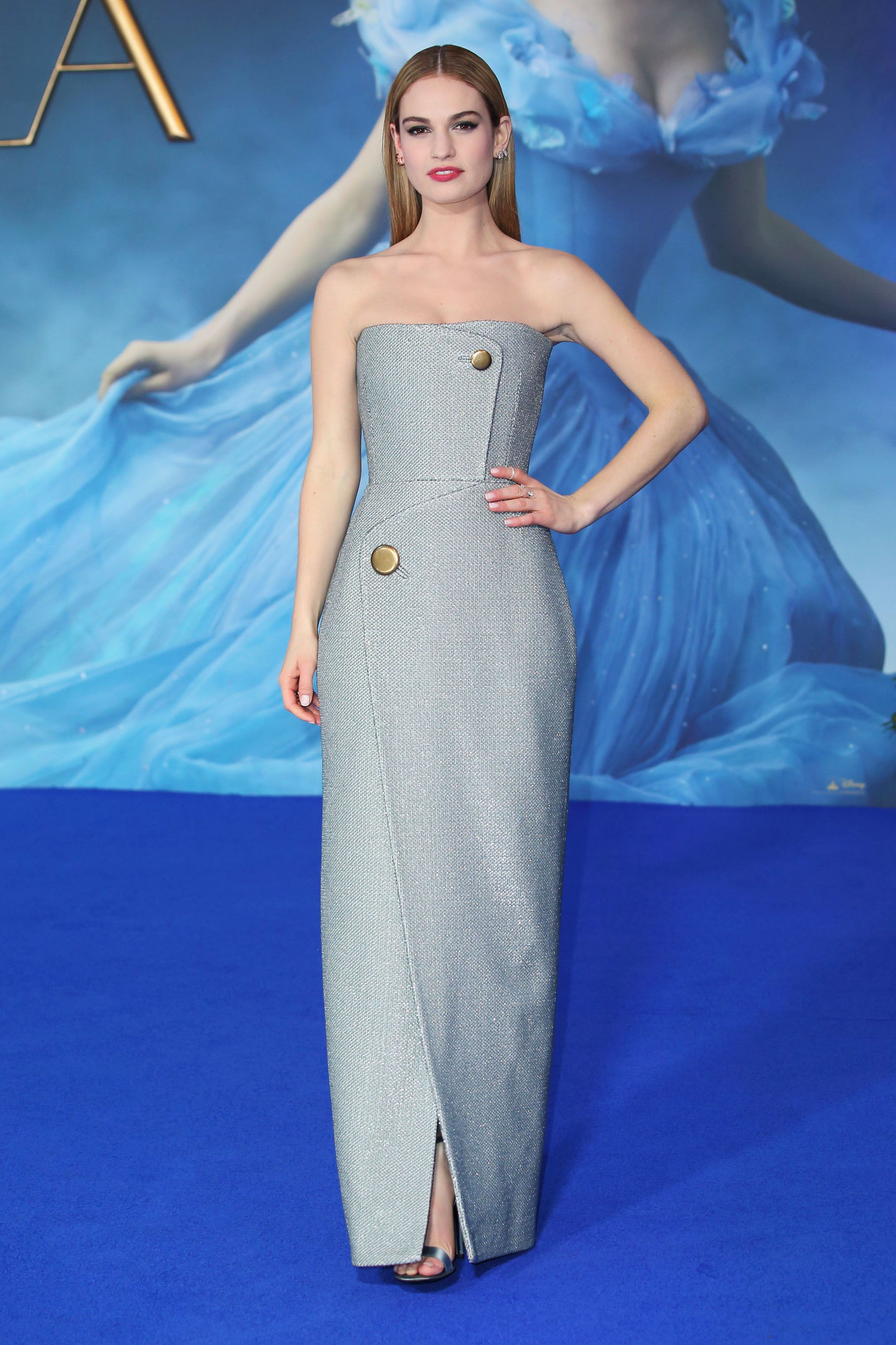 """LONDON, ENGLAND MARCH 19: Lily James attends the UK Premiere of """"Cinderella"""" at Odeon Leicester Square on March 19, 2015 in London, England. (Photo by Mike Marsland/WireImage)"""
