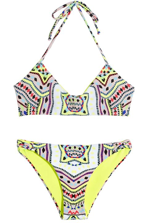 "Soak up the sun (with some SPF, of course) and show off that sun-kissed glow in a neon, tribal print two-piece.  <strong>Mara Hoffman</strong> bikini top, $121, <a href=""http://shop.harpersbazaar.com/designers/mara-hoffman/reversible-basketweave-bikini-top/"" target=""_blank"">shopBAZAAR.com</a>; <strong>Mara Hoffman</strong> bikini bottom, $121, <a href=""http://shop.harpersbazaar.com/designers/mara-hoffman/reversible-basketweave-bikini-bottom/"" target=""_blank"">shopBAZAAR.com</a>."