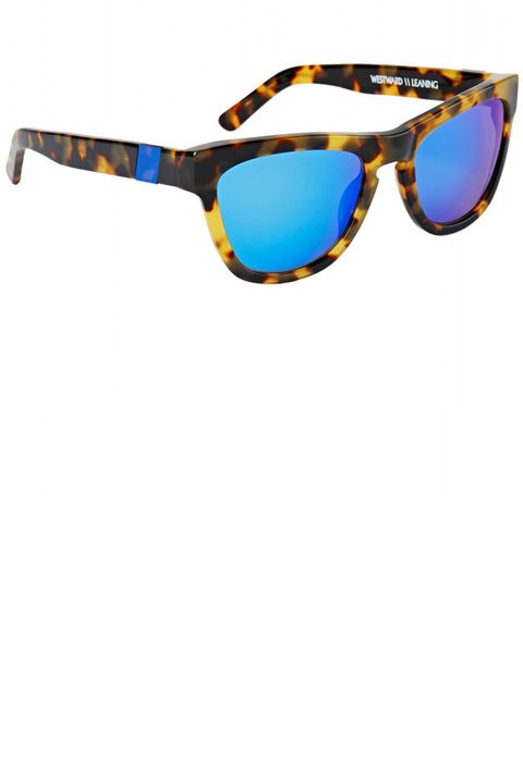 "Vibrant blue-mirrored sunnies are the coolest way to beat the heat.  <strong>Westward Leaning</strong> sunglasses, $180, <a href=""http://shop.harpersbazaar.com/designers/westward-leaning/pacific-shore-sunglasses/"" target=""_blank"">shopBAZAAR.com</a>."