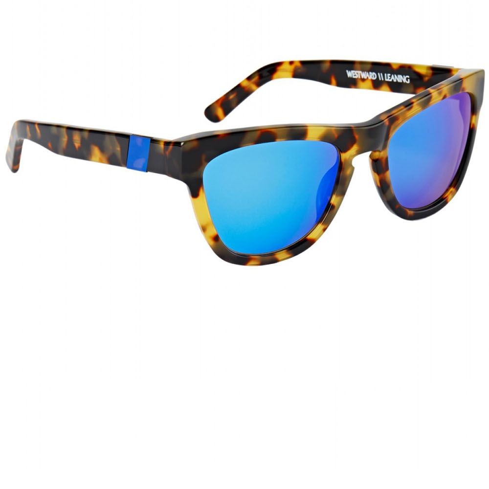 """Vibrant blue-mirrored sunnies are the coolest way to beat the heat. <strong>Westward Leaning</strong> sunglasses, $180, <a href=""""http://shop.harpersbazaar.com/designers/westward-leaning/pacific-shore-sunglasses/"""" target=""""_blank"""">shopBAZAAR.com</a>."""