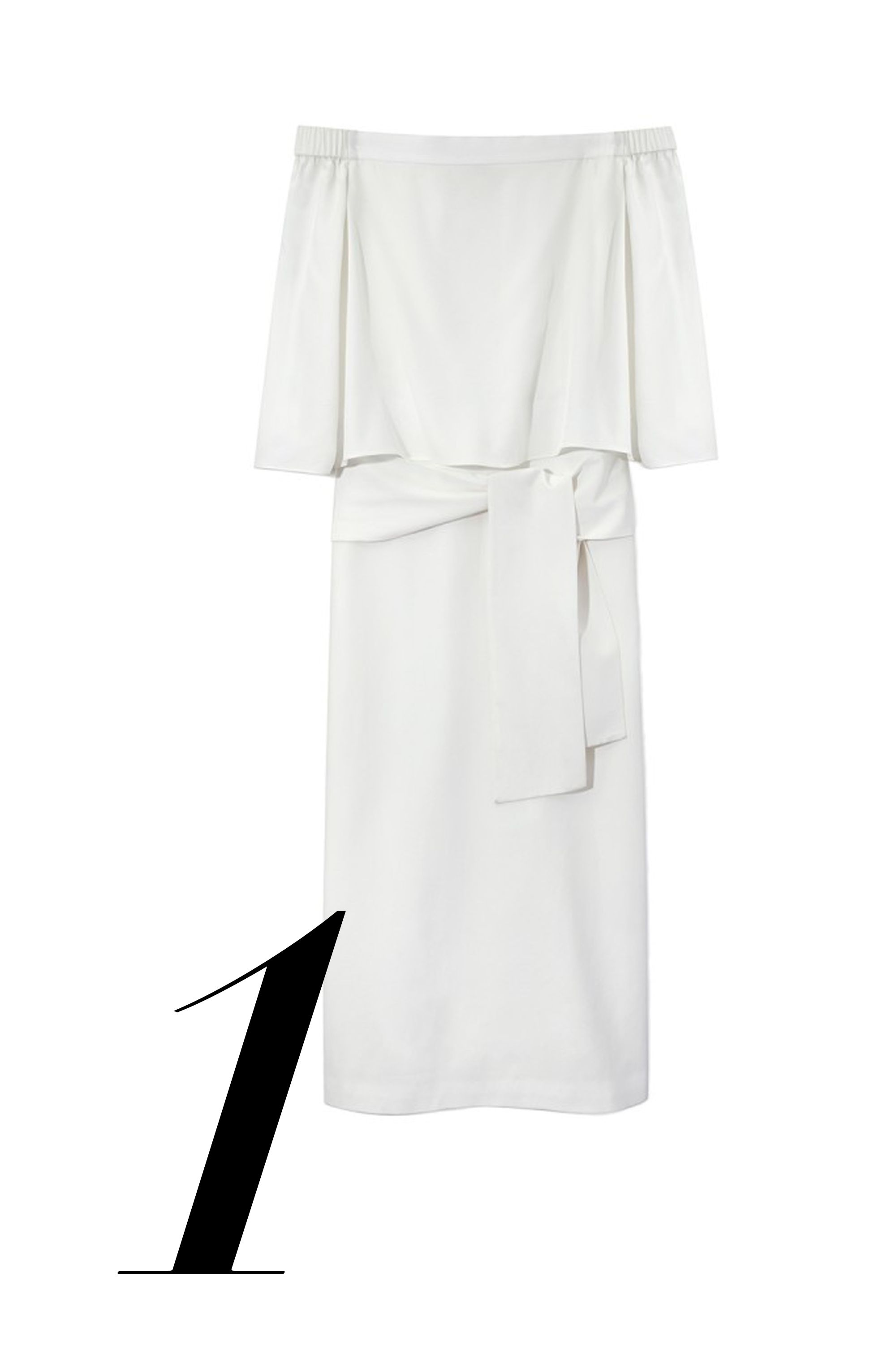 "<em>Tibi dress, $595, <a href=""http://shop.harpersbazaar.com/designers/tibi/white-off-the-shoulder-dress/"" target=""_blank"">shopBAZAAR.com</a>.</em>"