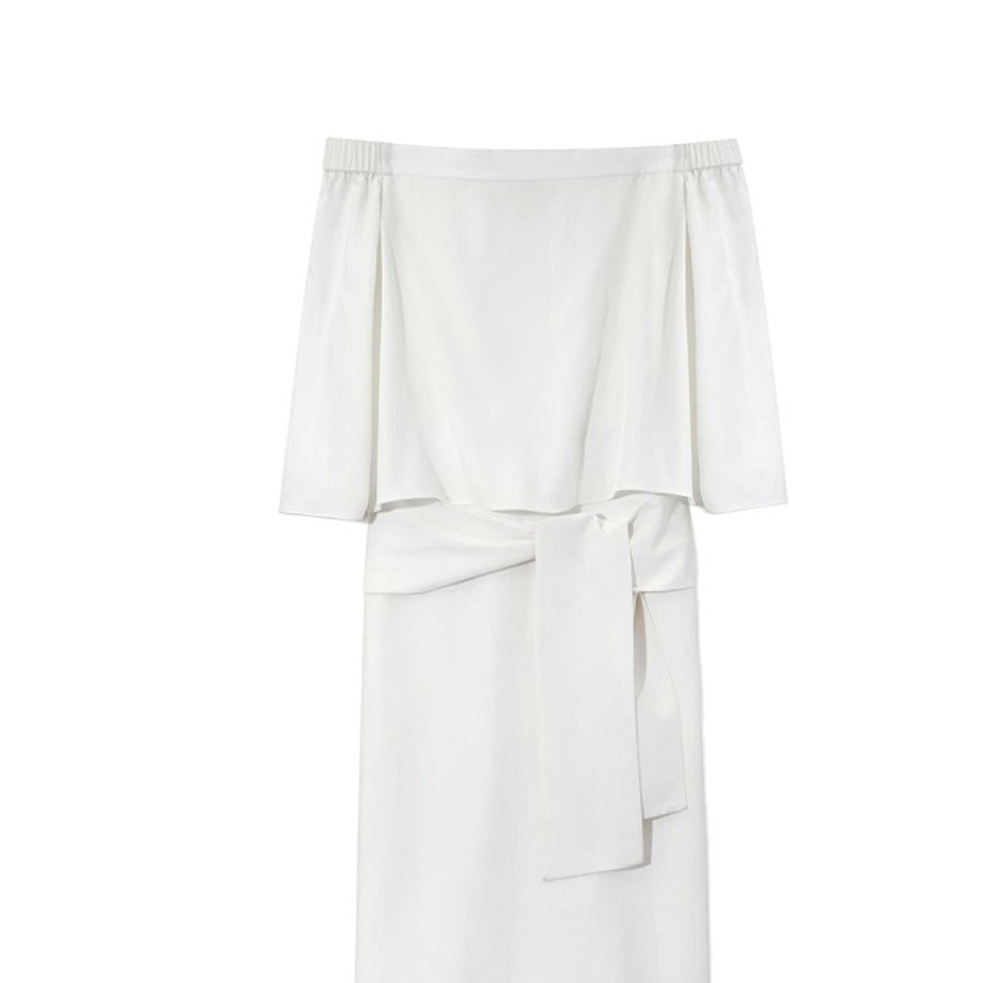 "<em>Tibi dress, $595, <a href=""http://shop.harpersbazaar.com/designers/tibi/white-off-the-shoulder-dress/"" target=""_blank"">shopBAZAAR.com</a>.</em>"