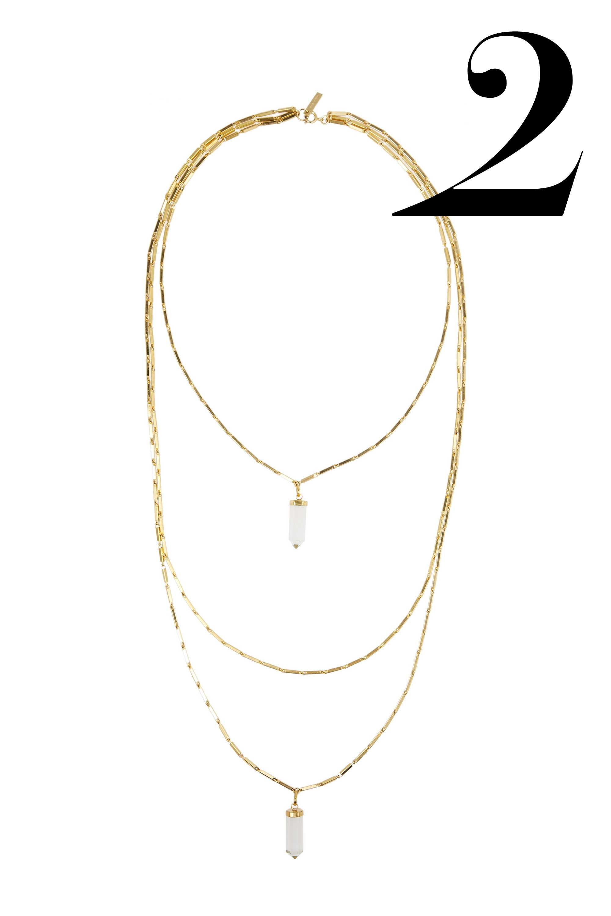 "<em>Isabel Marant necklace, $228, <a href=""http://www.theoutnet.com/en-US/product/Isabel-Marant/New-Day-gold-tone-crystal-necklace/528067"" target=""_blank"">theoutnet.com</a>.</em>"
