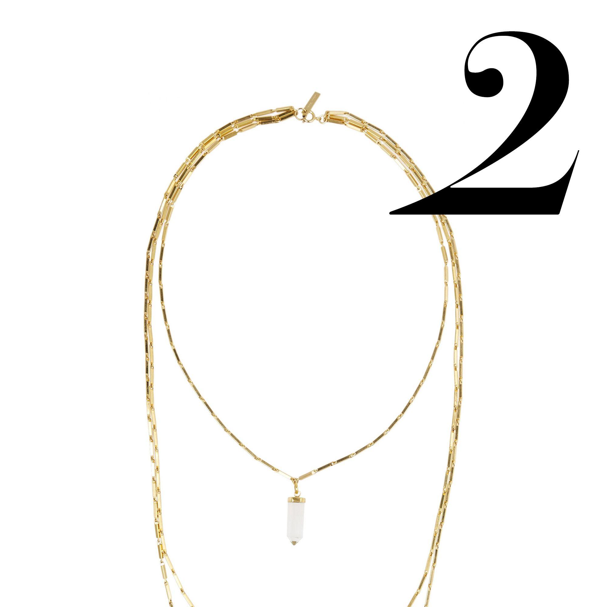"<em>Isabel Marant necklace, $228, <a href=""http://www.theoutnet.com/en-US/product/Isabel-Marant/New-Day-gold-tone-crystal-necklace/528067"" target=""_blank"">theoutnet.com</a>.</em>"