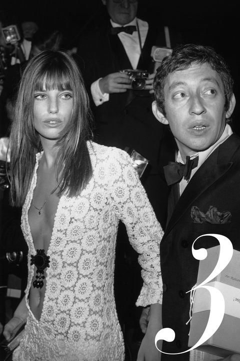 04/25/1969. Serge GAINSBOURG and Jane BIRKIN arriving at the Artists Union's Gala, Paris.
