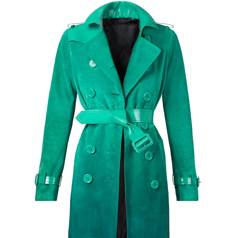 """<strong>Burberry</strong> coat, $6,500, <a target=""""_blank"""" href=""""http://us.burberry.com/degrade-suede-trench-coat-with-patent-trim-p45290801"""">burberry.com</a>."""