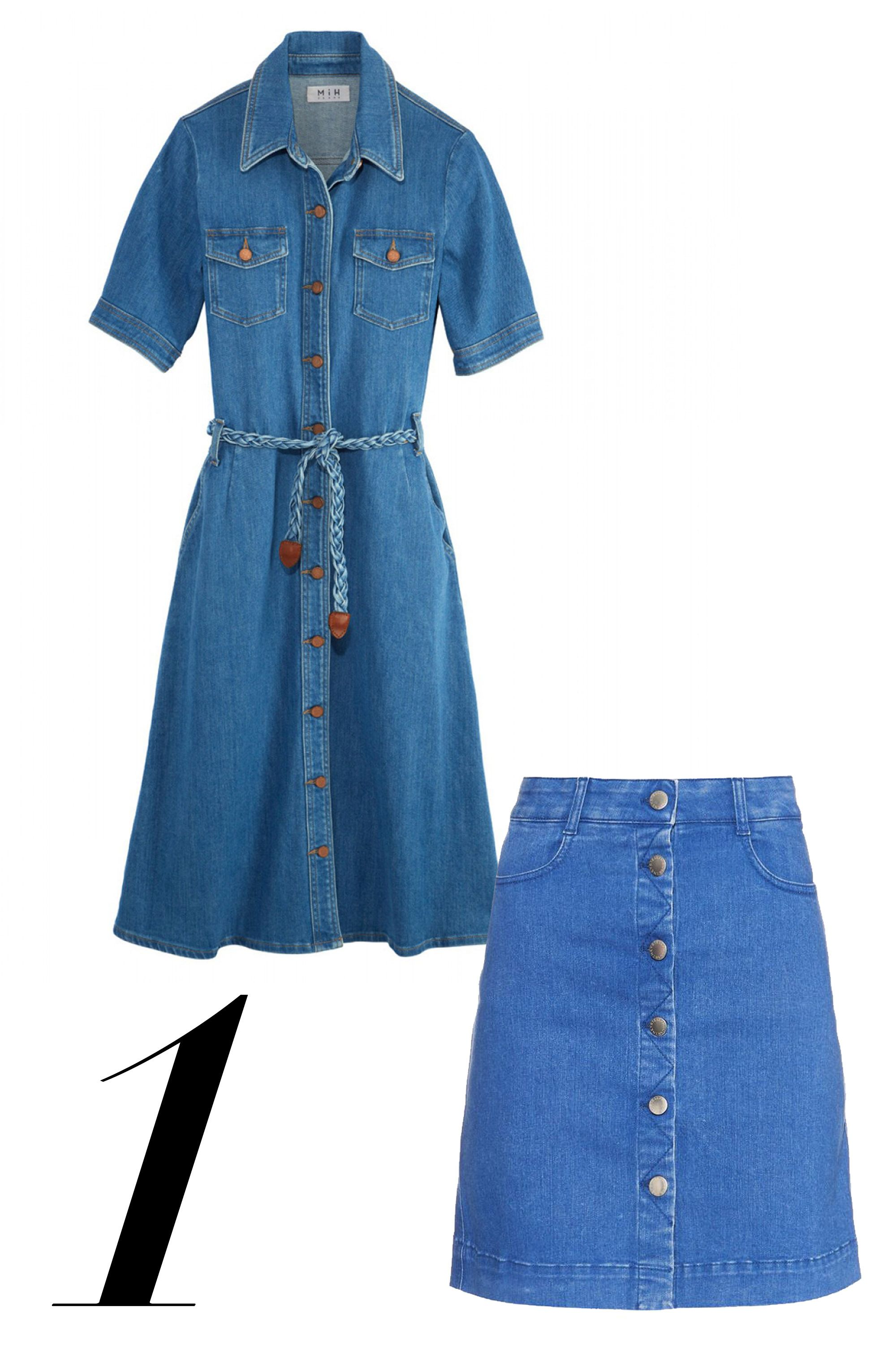 "Embrace fashion's main decade of choice in feminine denim with brass button details.  <em>MiH dress, $375, <a target=""_blank"" href=""http://shop.harpersbazaar.com/designers/mih-jeans/70-s-denim-dress/"">shopBAZAAR.com</a></em><img src=""http://assets.hdmtools.com/images/HBZ/Shop.svg"" class=""icon shop""><em>; Stella McCartney skirt, $565, <a target=""_blank"" href=""http://www.matchesfashion.com/product/1012870?qxjkl=tsid:57534&utm_campaign=mini%20skirts"">matchesfashion.com</a>.</em>"