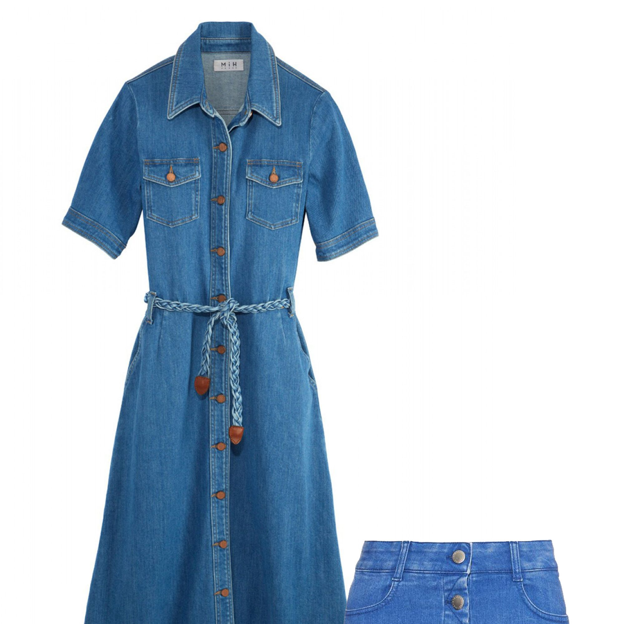 Embrace fashion's main decade of choice in feminine denim with brass button details.