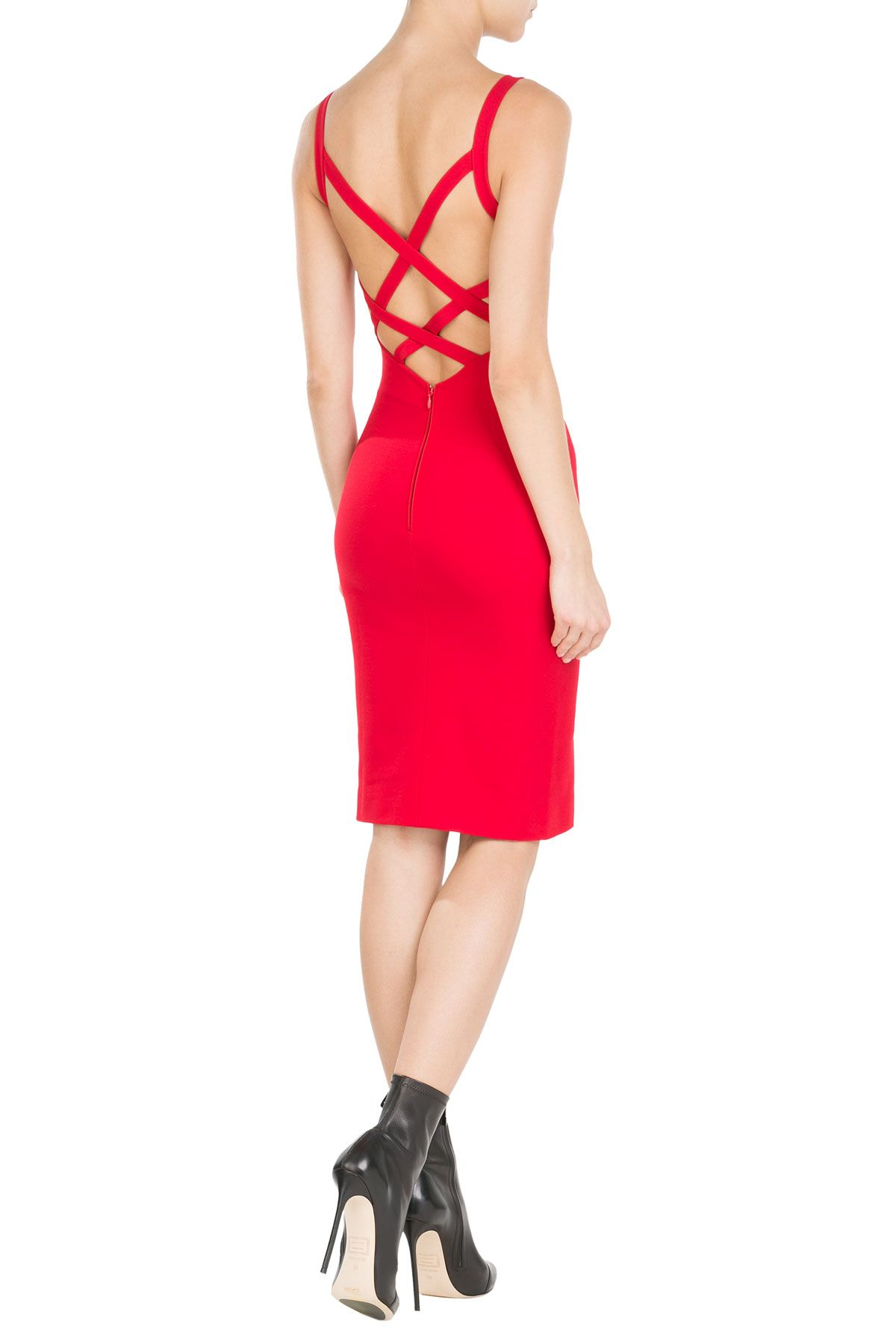 Bring the '90s back in this crimson shift dress with sultry criss-cross straps.