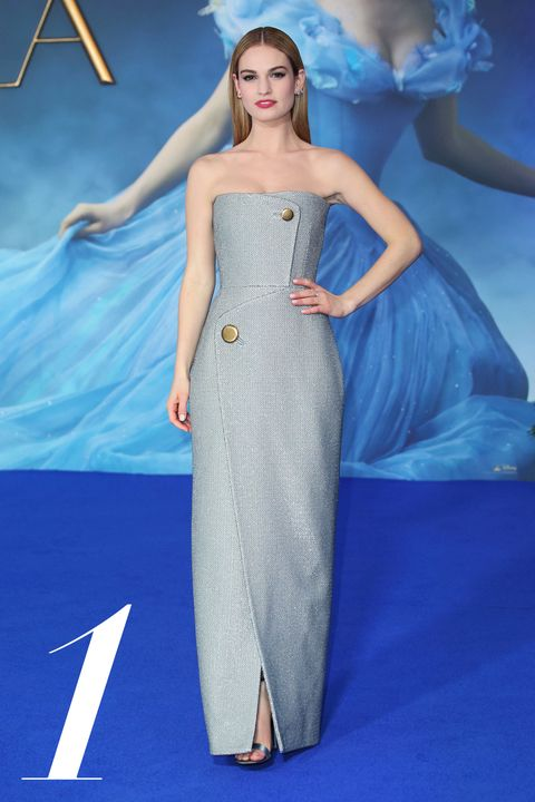 "LONDON, ENGLAND MARCH 19: Lily James attends the UK Premiere of ""Cinderella"" at Odeon Leicester Square on March 19, 2015 in London, England. (Photo by Mike Marsland/WireImage)"