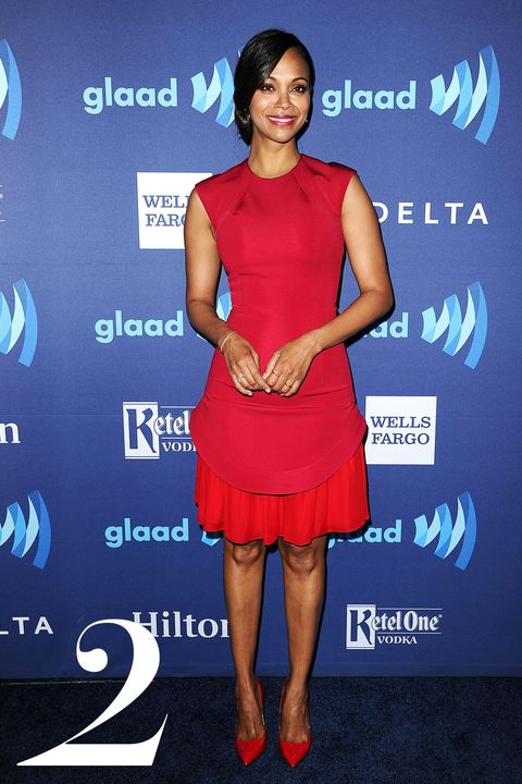 BEVERLY HILLS, CA - MARCH 21:  Actress Zoe Saldana attends the 26th annual GLAAD Media Awards at The Beverly Hilton Hotel on March 21, 2015 in Beverly Hills, California.  (Photo by Jason LaVeris/FilmMagic)