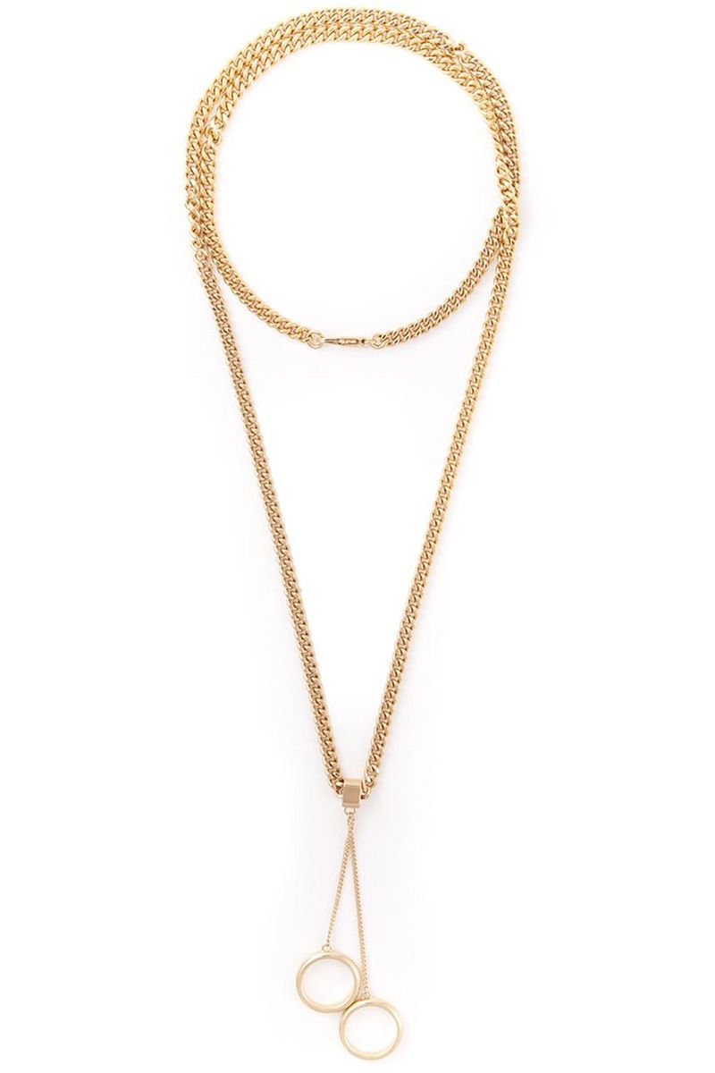 "<strong>Chloé</strong> necklace, $464, <a target=""_blank"" href=""http://www.farfetch.com/shopping/women/chloe-ring-pendant-necklace-item-10895817.aspx?storeid=9388&ffref=lp_244_"">farfetch.com.</a>"
