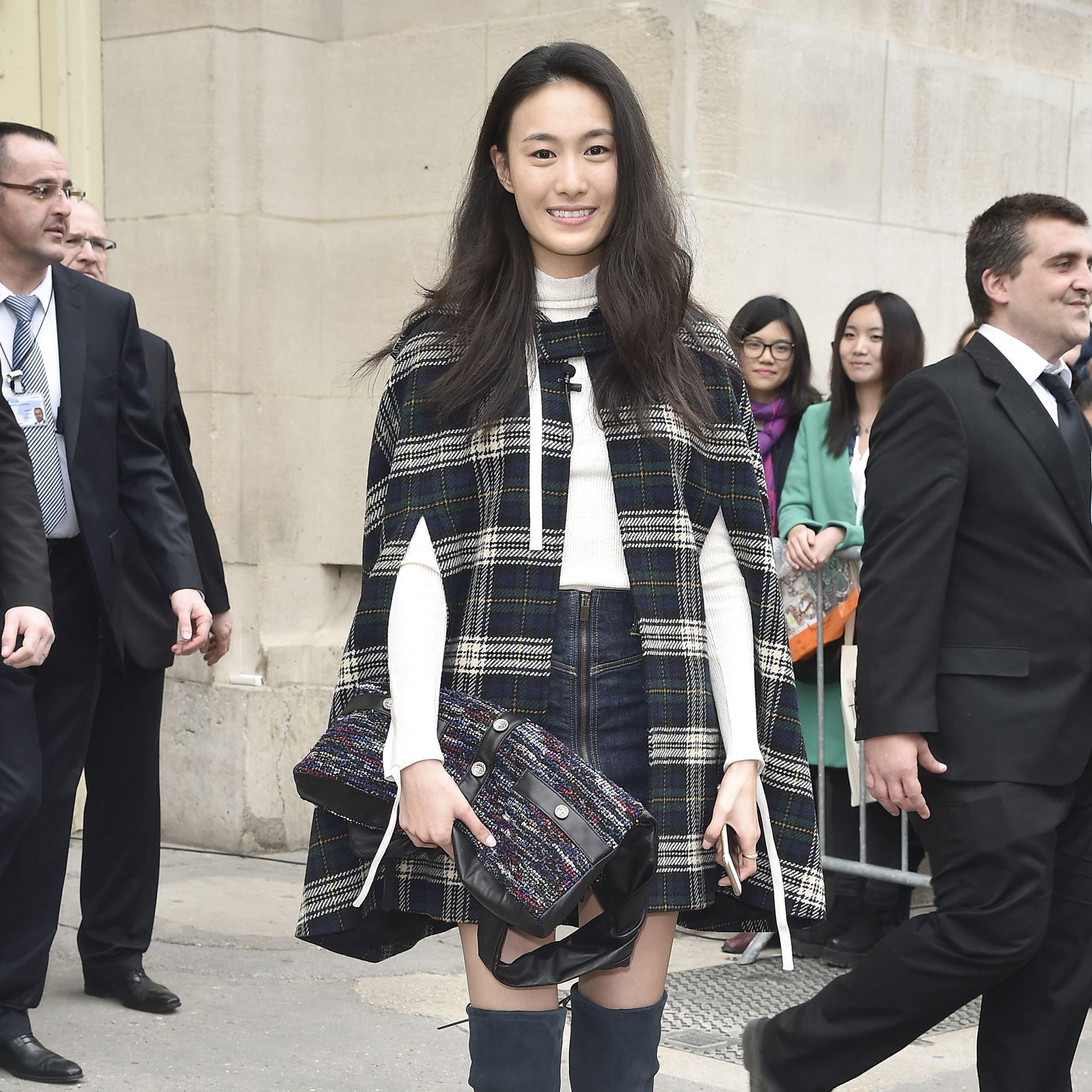 PARIS, FRANCE - MARCH 10:  Shu Pei Qin leaves the Chanel show as part of the Paris Fashion Week Womenswear Fall/Winter 2015/2016  on March 10, 2015 in Paris, France.  (Photo by Jacopo Raule/Getty Images for Chanel)