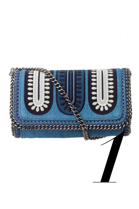 "<em>Stella McCartney bag, $1,120, <a target=""_blank"" href=""http://shop.harpersbazaar.com/designers/stella-mccartney/falabella-zigarette-denim-crossbody/"">shopBAZAAR.com</a>.</em>"