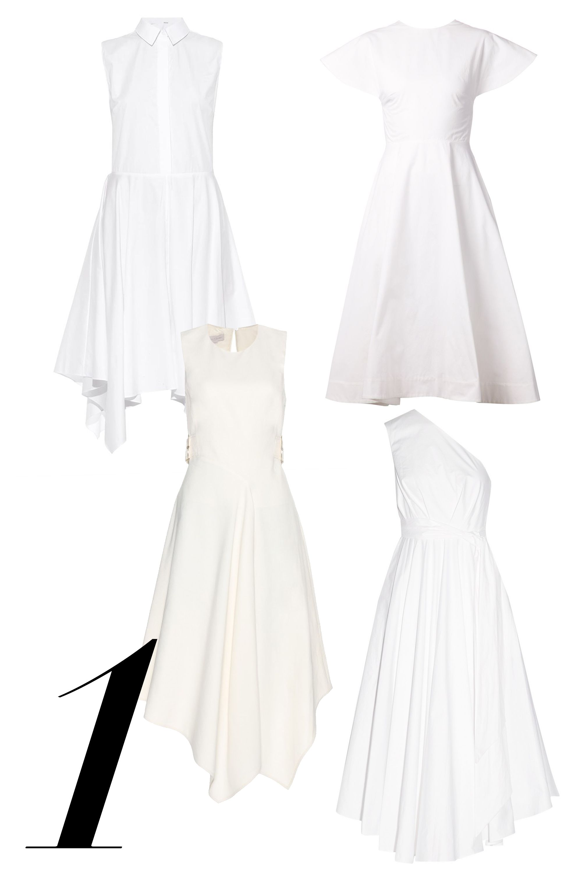 "The little white dress gets a breezy disposition with asymmetrical hemlines and poplin fabrications.   <em>Adam Lippes, $890, <a target=""_blank"" href=""http://www.matchesfashion.com/product/1022445"">matchesfashion.com</a>; </em><em>Rosie Assoulin, $1,995, <a target=""_blank"" href=""http://www.farfetch.com/shopping/women/rosie-assoulin-backless-flared-dress-item-10900864.aspx?storeid=9218&ffref=lp_20_"">farfetch.com</a>; </em><em>Stella McCartney, $1,380, <a target=""_blank"" href=""http://www.mytheresa.com/en-us/crepe-dress-417230.html"">mytheresa.com</a>; </em><em>Tibi, $625, <a target=""_blank"" href=""http://www.net-a-porter.com/product/536399/Tibi/one-shoulder-cotton-poplin-dress"">net-a-porter.com</a></em>"