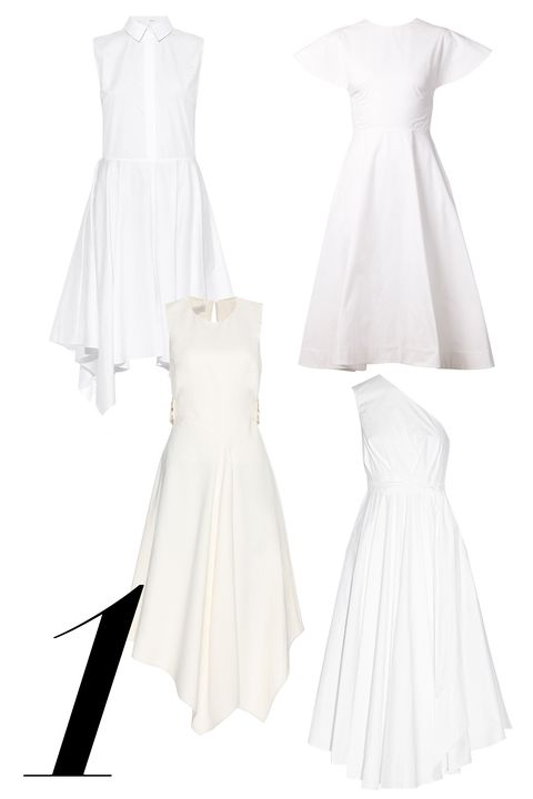 "The little white dress gets a breezy disposition with asymmetrical hemlines and poplin fabrications.   <em>Adam Lippes, $890, <a target=""_blank"" href=""http://www.matchesfashion.com/product/1022445"">matchesfashion.com</a>; </em><em>Rosie Assoulin, $1,995, <a target=""_blank"" href=""http://www.farfetch.com/shopping/women/rosie-assoulin-backless-flared-dress-item-10900864.aspx?storeid=9218&amp;ffref=lp_20_"">farfetch.com</a>; </em><em>Stella McCartney, $1,380, <a target=""_blank"" href=""http://www.mytheresa.com/en-us/crepe-dress-417230.html"">mytheresa.com</a>; </em><em>Tibi, $625, <a target=""_blank"" href=""http://www.net-a-porter.com/product/536399/Tibi/one-shoulder-cotton-poplin-dress"">net-a-porter.com</a></em>"