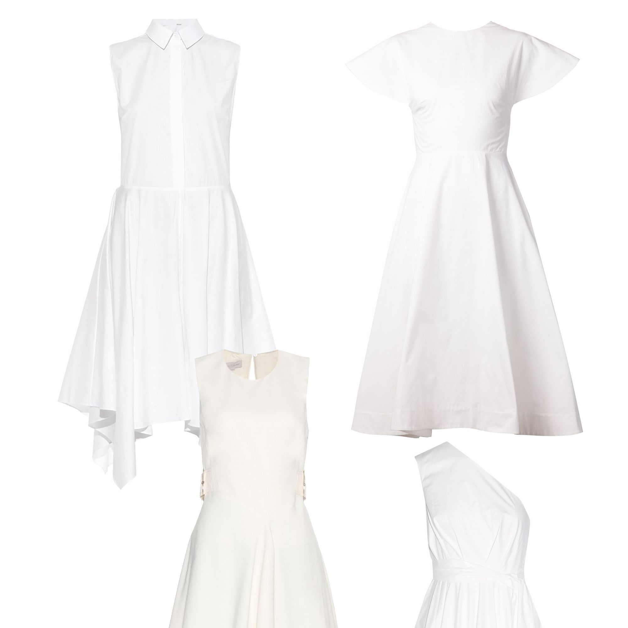 "The little white dress gets a breezy disposition with asymmetrical hemlines and poplin fabrications. <em>Adam Lippes, $890, <a target=""_blank"" href=""http://www.matchesfashion.com/product/1022445"">matchesfashion.com</a>&#x3B; </em><em>Rosie Assoulin, $1,995, <a target=""_blank"" href=""http://www.farfetch.com/shopping/women/rosie-assoulin-backless-flared-dress-item-10900864.aspx?storeid=9218&amp&#x3B;ffref=lp_20_"">farfetch.com</a>&#x3B; </em><em>Stella McCartney, $1,380, <a target=""_blank"" href=""http://www.mytheresa.com/en-us/crepe-dress-417230.html"">mytheresa.com</a>&#x3B; </em><em>Tibi, $625, <a target=""_blank"" href=""http://www.net-a-porter.com/product/536399/Tibi/one-shoulder-cotton-poplin-dress"">net-a-porter.com</a></em>"