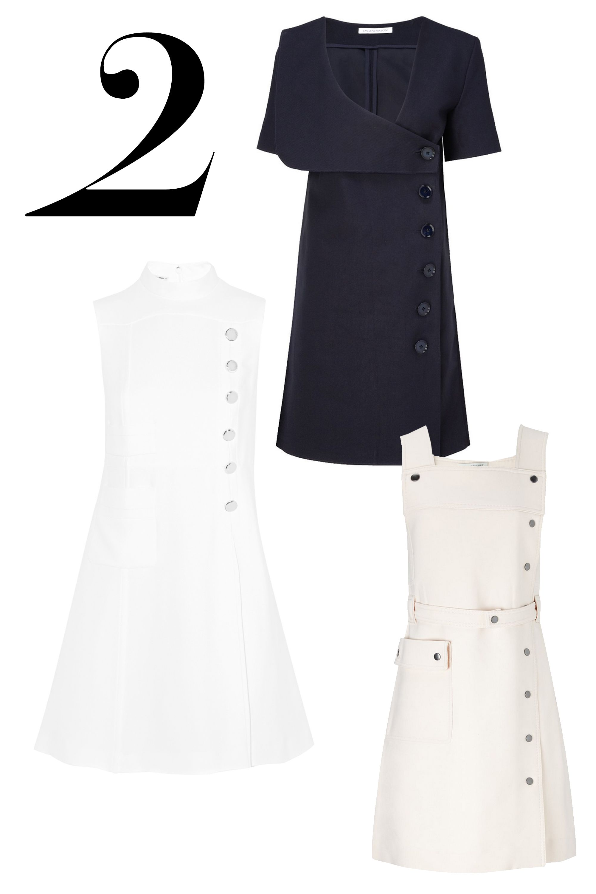 "<div>The detail du jour is the statement button with a nautical attitude.</div><div> </div><div><em>J.W Anderson, $1,115, <a target=""_blank"" href=""http://www.avenue32.com/us/navy-bonded-cotton-sailor-dress-78501/"">avenue32.com</a>; Miu Miu, $2,280, <a target=""_blank"" href=""http://www.net-a-porter.com/product/522830/Miu_Miu/embellished-pleated-cady-dress"">net-a-porter.com</a>; </em><em>Jill Stuart, $785, <a target=""_blank"" href=""http://www.avenue32.com/us/canvas-cotton-india-dress-31001/"">avenue32.com</a> </em><em> </em><em> </em>  </div>"