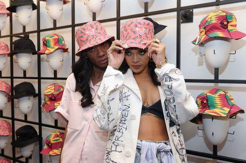 Pattern, Headgear, Hat, Fashion accessory, Fashion, Costume accessory, Collection, Street fashion, Mannequin, Lipstick,
