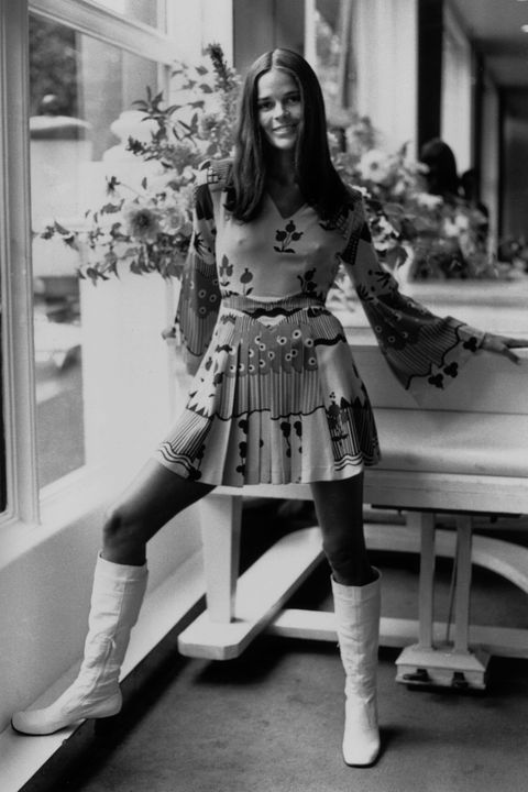 3rd September 1969:  Film star Ali MacGraw in a multi-patterned dress by Chelsea designer Ossie Clark.  (Photo by Harry Dempster/Express/Getty Images)