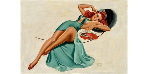 hbz-american-pin-up-Driben-Peter_Reclining Red Head in Green Dress with Chocolates 24x35 Oil on Canvas