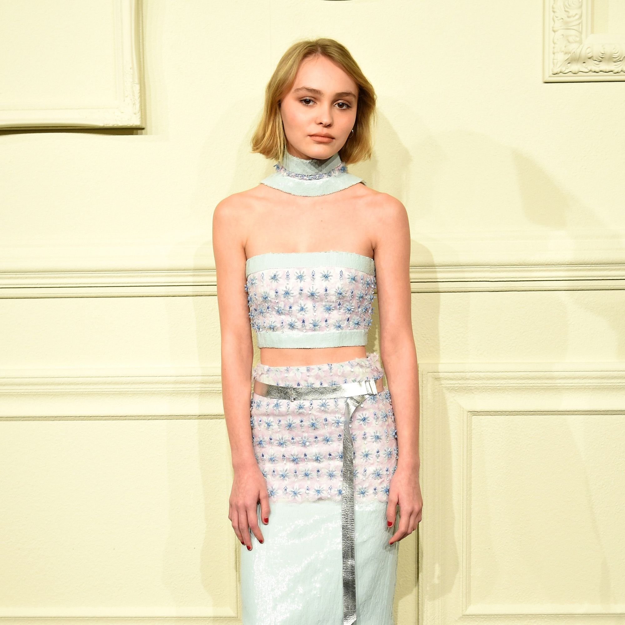 NEW YORK, NY - MARCH 31:  Lily-Rose Depp attends the CHANEL Paris-Salzburg 2014/15 Metiers d'Art Collection in New York City at the Park Avenue Armory on March 31, 2015 in New York City.  (Photo by Andrew H. Walker/WireImage)