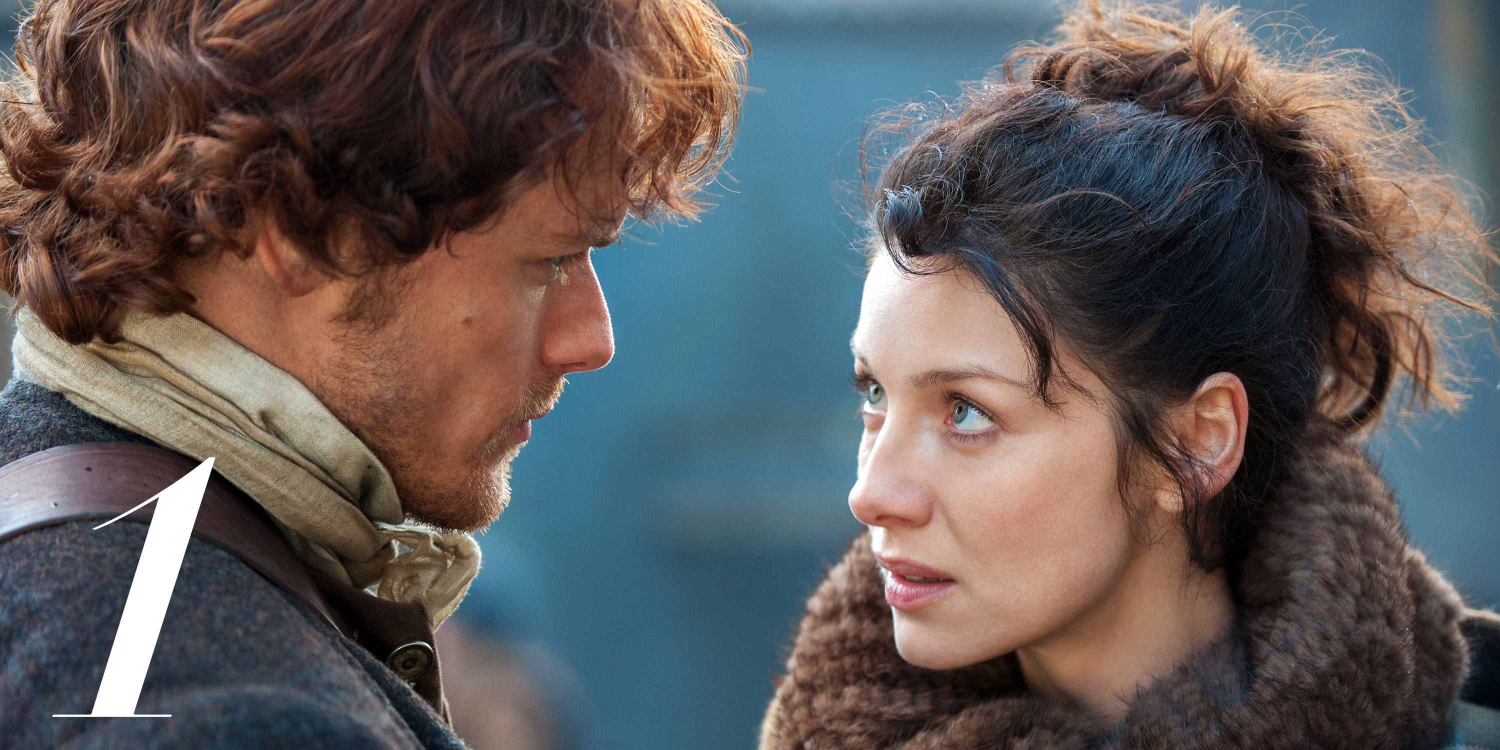 OUTLANDER, (from left): Sam Heughan, Caitriona Balfe, 'The Way Out', (Season 1, ep. 103, aired Aug. 23, 2014). photo: Neil Davidson / © Starz / Courtesy: Everett Collection