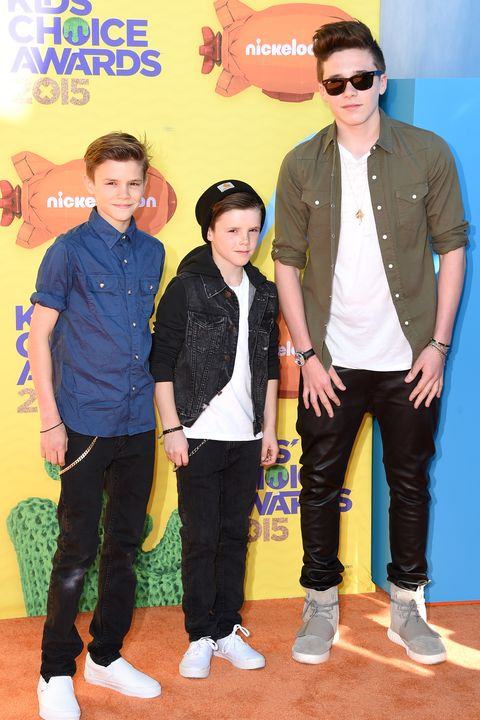 INGLEWOOD, CA - MARCH 28:  (L-R) Romeo Beckham, Cruz Beckham and Brooklyn Beckham attend Nickelodeon's 28th Annual Kids' Choice Awards held at The Forum on March 28, 2015 in Inglewood, California.  (Photo by Jason Merritt/Getty Images)