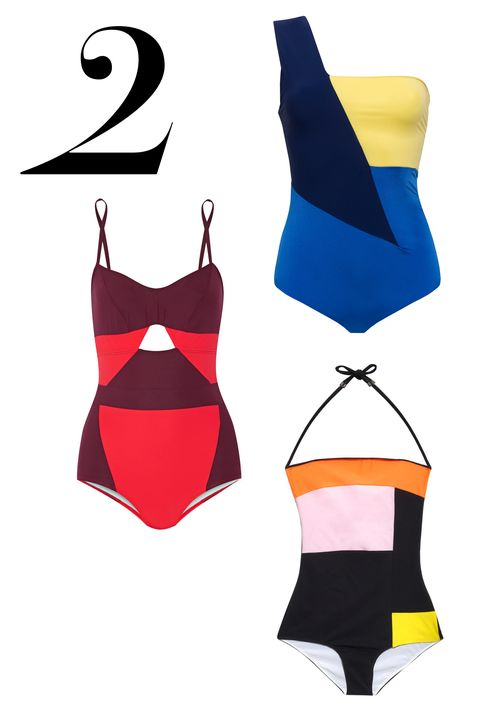 "Color-blocking feels modern in one-pieces that flatter and leverage the right angles—quite literally.   <em>Do Paris bathing suit, $242, <a target=""_blank"" href=""http://www.do-paris.com/"">do-paris.com</a>; Roksanda swim, $495, <a target=""_blank"" href=""http://www.matchesfashion.com/product/1015746"">matchesfashion.com</a>; FLAGPOLE SWIM, $400, <a target=""_blank"" href=""http://www.net-a-porter.com/us/en/product/527540"">net-a-porter.com</a></em>"