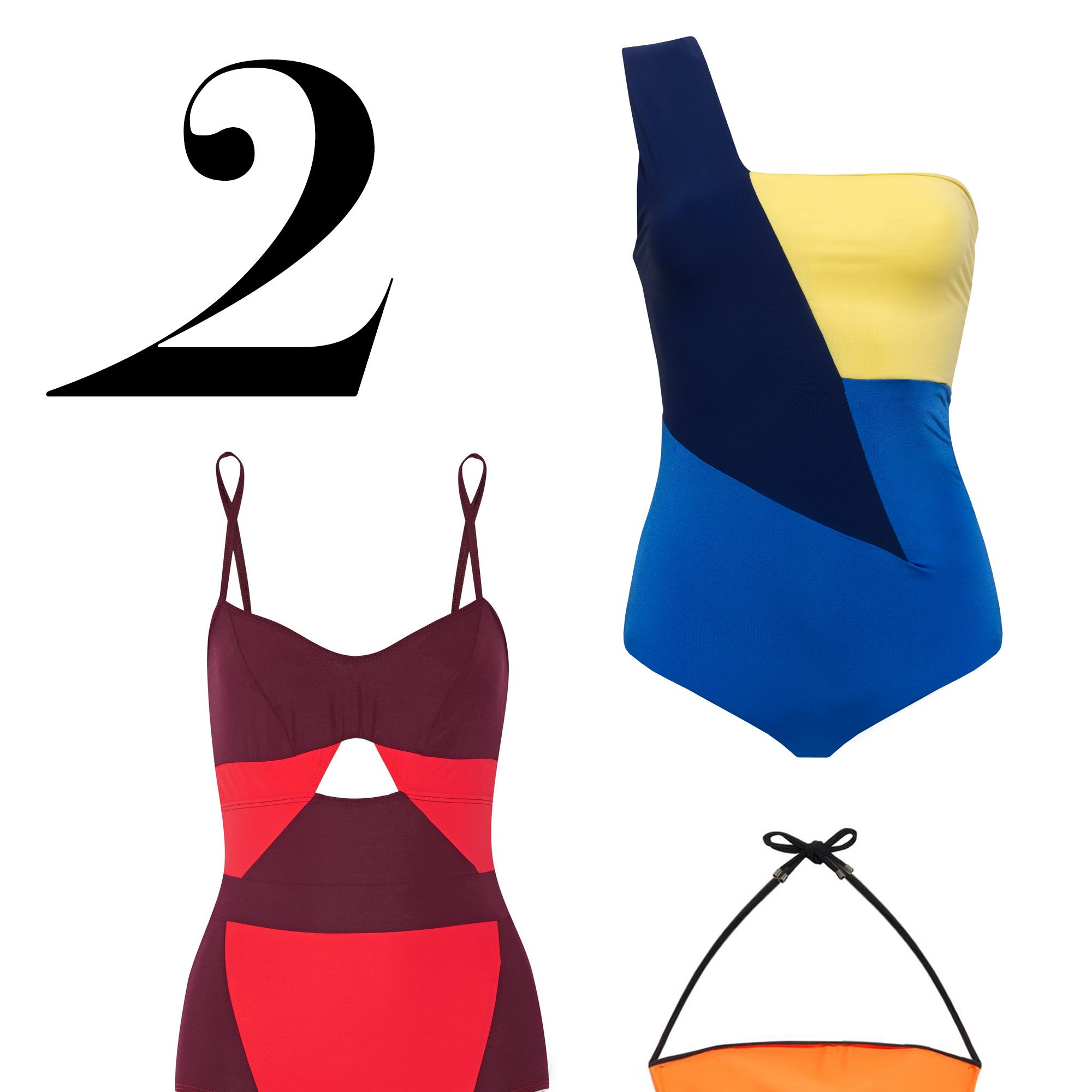 """Color-blocking feels modern in one-pieces that flatter and leverage the right angles—quite literally. <em>Do Paris bathing suit, $242, <a target=""""_blank"""" href=""""http://www.do-paris.com/"""">do-paris.com</a>&#x3B; Roksanda swim, $495, <a target=""""_blank"""" href=""""http://www.matchesfashion.com/product/1015746"""">matchesfashion.com</a>&#x3B; FLAGPOLE SWIM, $400, <a target=""""_blank"""" href=""""http://www.net-a-porter.com/us/en/product/527540"""">net-a-porter.com</a></em>"""
