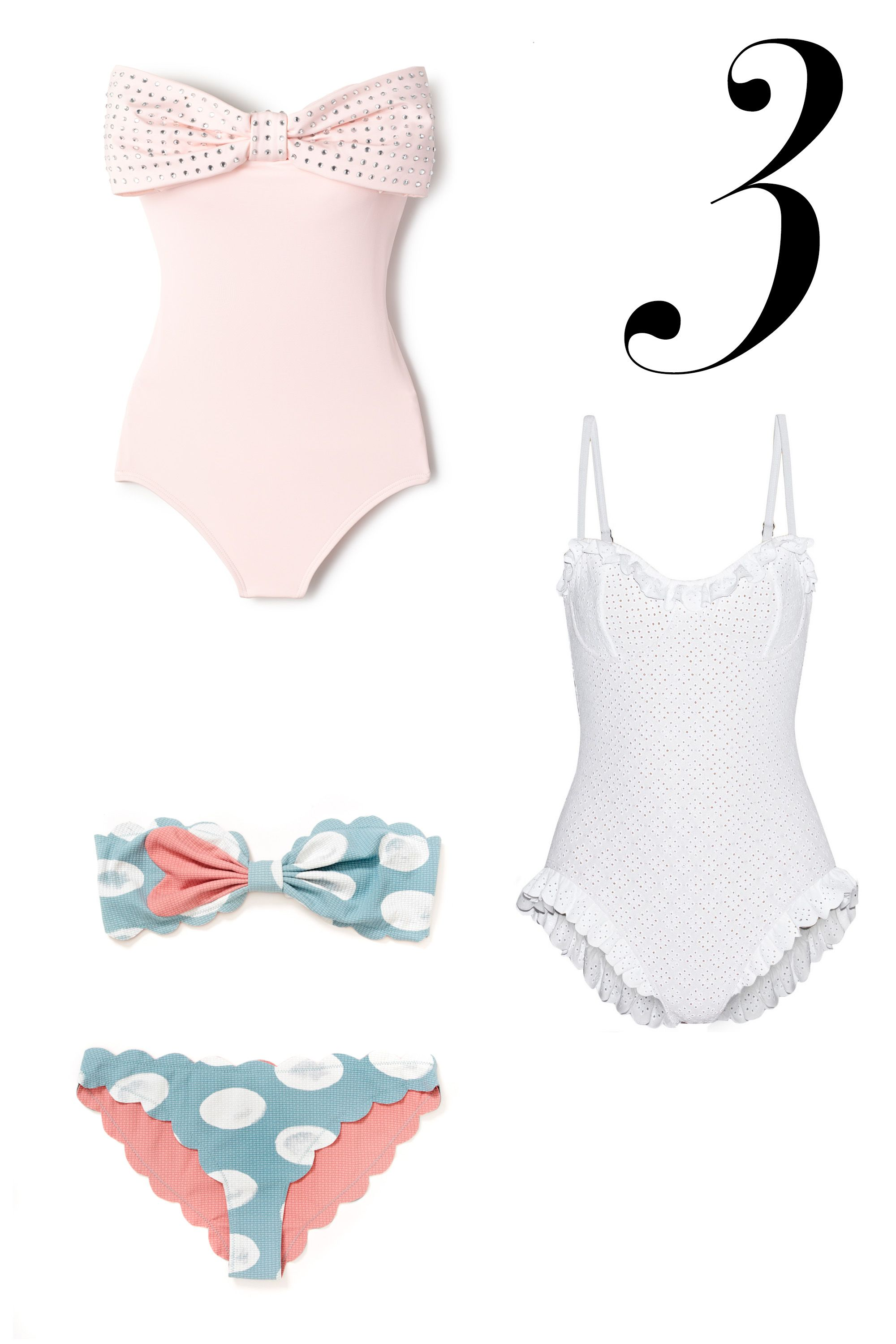 "For the girlish romantic, these suits are pretty in pink or white lace for a welcome feminine wink.  <em>Kate Spade suit, $173, </em><a target=""_blank"" href=""http://www.everythingbutwater.com/swimwear/browse/category/one-piece.html?page=1&filters=5771;&sizes=&colors=&prices=0;10000&limit=48&base=;88;2790""><em>everythingbutwater.com</em></a><em>; Marysia suit, $139, <a target=""_blank"" href=""http://marysiaswim.com/product/i-heart-antibes/"">marysiaswim.com</a>; Michael Kors suit, $360, <a target=""_blank"" href=""http://www.net-a-porter.com/us/en/product/534975"">net-a-porter.com</a></em>"