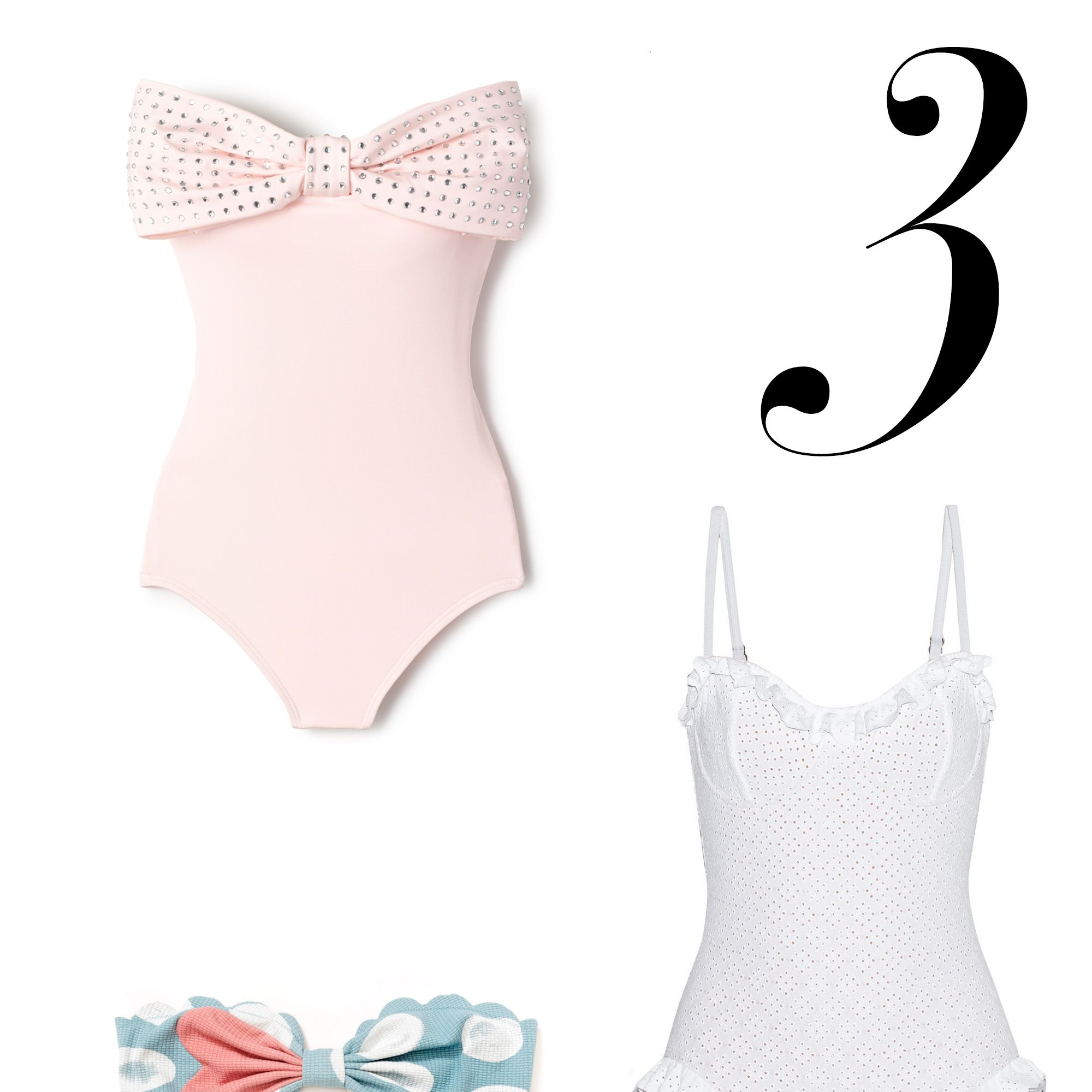 """For the girlish romantic, these suits are pretty in pink or white lace for a welcome feminine wink.<em>Kate Spade suit, $173, </em><a target=""""_blank"""" href=""""http://www.everythingbutwater.com/swimwear/browse/category/one-piece.html?page=1&amp&#x3B;filters=5771&#x3B;&amp&#x3B;sizes=&amp&#x3B;colors=&amp&#x3B;prices=0&#x3B;10000&amp&#x3B;limit=48&amp&#x3B;base=&#x3B;88&#x3B;2790""""><em>everythingbutwater.com</em></a><em>&#x3B; Marysia suit, $139, <a target=""""_blank"""" href=""""http://marysiaswim.com/product/i-heart-antibes/"""">marysiaswim.com</a>&#x3B; Michael Kors suit, $360, <a target=""""_blank"""" href=""""http://www.net-a-porter.com/us/en/product/534975"""">net-a-porter.com</a></em>"""