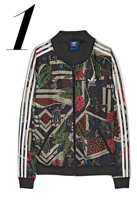 """A sporty staple gets a feminine update.   <em>Adidas Originals jacket, $65, <a target=""""_blank"""" href=""""http://www.adidas.com/us/farm-curso-dagua-superstar-track-top/S19335.html"""">adidas.com</a>.</em>"""