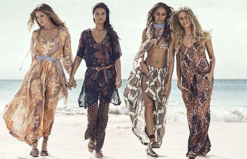 Waist, Fashion, People on beach, Fashion model, Beach, One-piece garment, Fashion design, Long hair, Day dress, Abdomen,