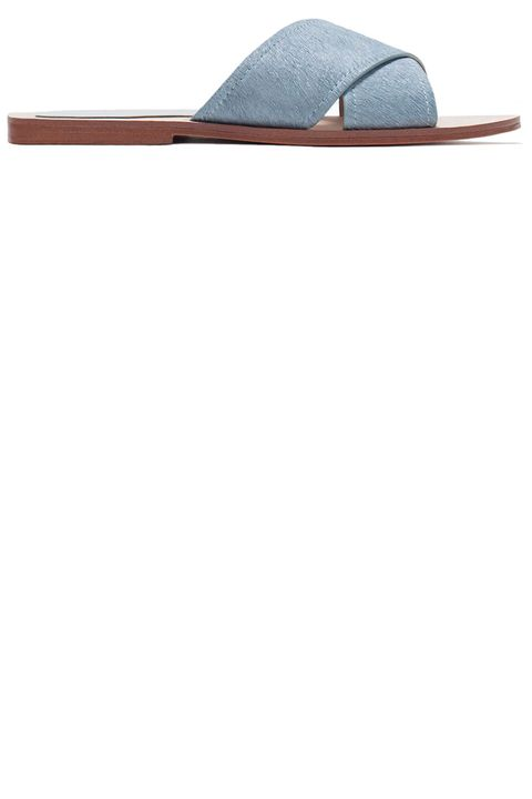 "Zara sandals, $59.90,<a target=""_blank"" href=""http://www.zara.com/us/en/woman/shoes/flat-sandals/crossover-leather-sandals-c358010p2474562.html"">zara.com.</a>"