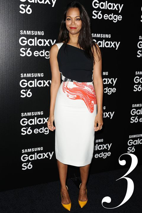 LOS ANGELES, CA - APRIL 02:  Actress Zoe Saldana attends the Samsung launch of the Galaxy S 6 and Galaxy S 6 Edge at Quixote Studios on April 2, 2015 in Los Angeles, California.  (Photo by Jason LaVeris/FilmMagic)