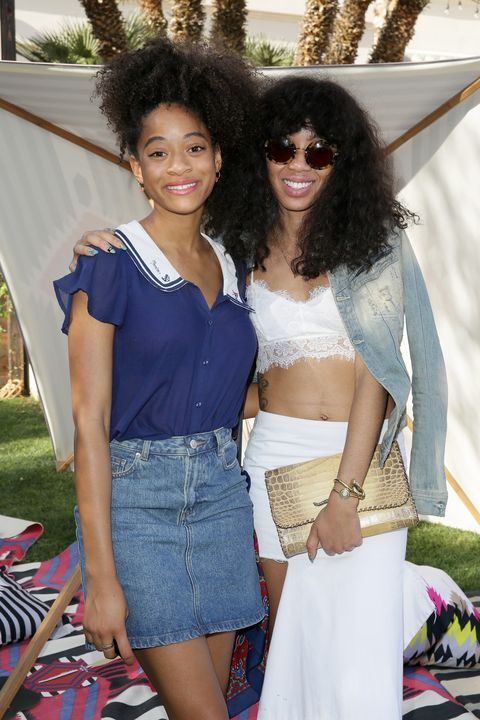 LA QUINTA, CA - APRIL 10:  Singer Kilo Kish (L) and musician Kitty Cash attends Coach Backstage at SOHO Desert House on April 10, 2015 in La Quinta, California.  (Photo by Chelsea Lauren/Getty Images for Coach)