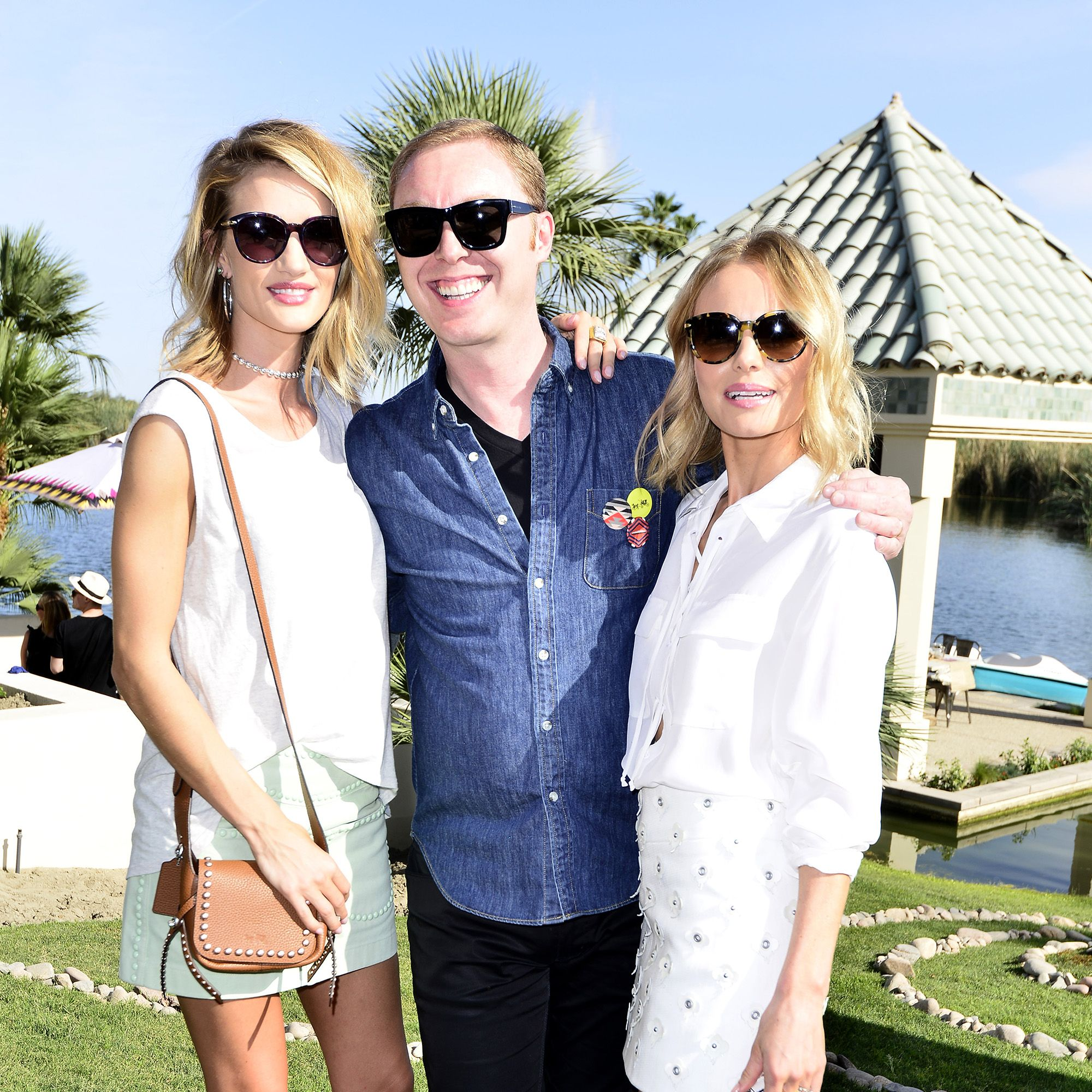 LA QUINTA, CA - APRIL 10: Model Rosie Huntington-Whiteley, Coach Executive Creative Director Stuart Vevers and actress Kate Bosworth   attend Coach Backstage at Soho Desert House on April 10, 2015 in La Quinta, California.  (Photo by Jerod Harris/Getty Images for Coach)