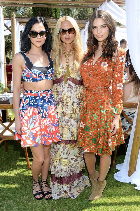 PALM SPRINGS, CA - APRIL 11:  (L-R) DJ Leigh Lezark, Rachel Zoe, and actress Emily Ratajkowski enjoying Moet Ice Imperial at The Zoe Report and DVF Brunch, hosted by Rachel Zoe at Coachella on April 11, 2015 in Palm Springs, California.  (Photo by Michael Kovac/Getty Images for Moet Ice Imperial)