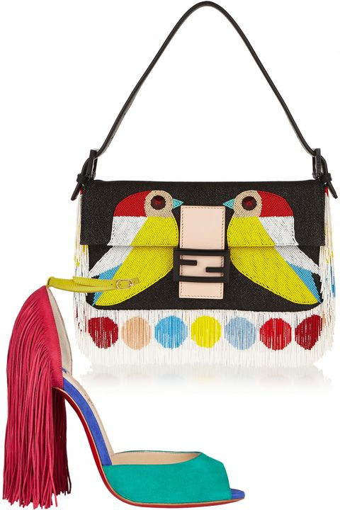 "<strong>Fendi </strong>bag, $2650, <a target=""_blank"" href=""http://www.net-a-porter.com/product/486269/Fendi/baguette-beaded-twill-shoulder-bag"">net-a-porter.com</a> ; <strong>Christian Louboutin </strong>shoes, $1295, <a target=""_blank"" href=""http://www.barneys.com/Christian-Louboutin-Fringed-Otrot-Sandals-503642911.html"">barneys.com</a>"
