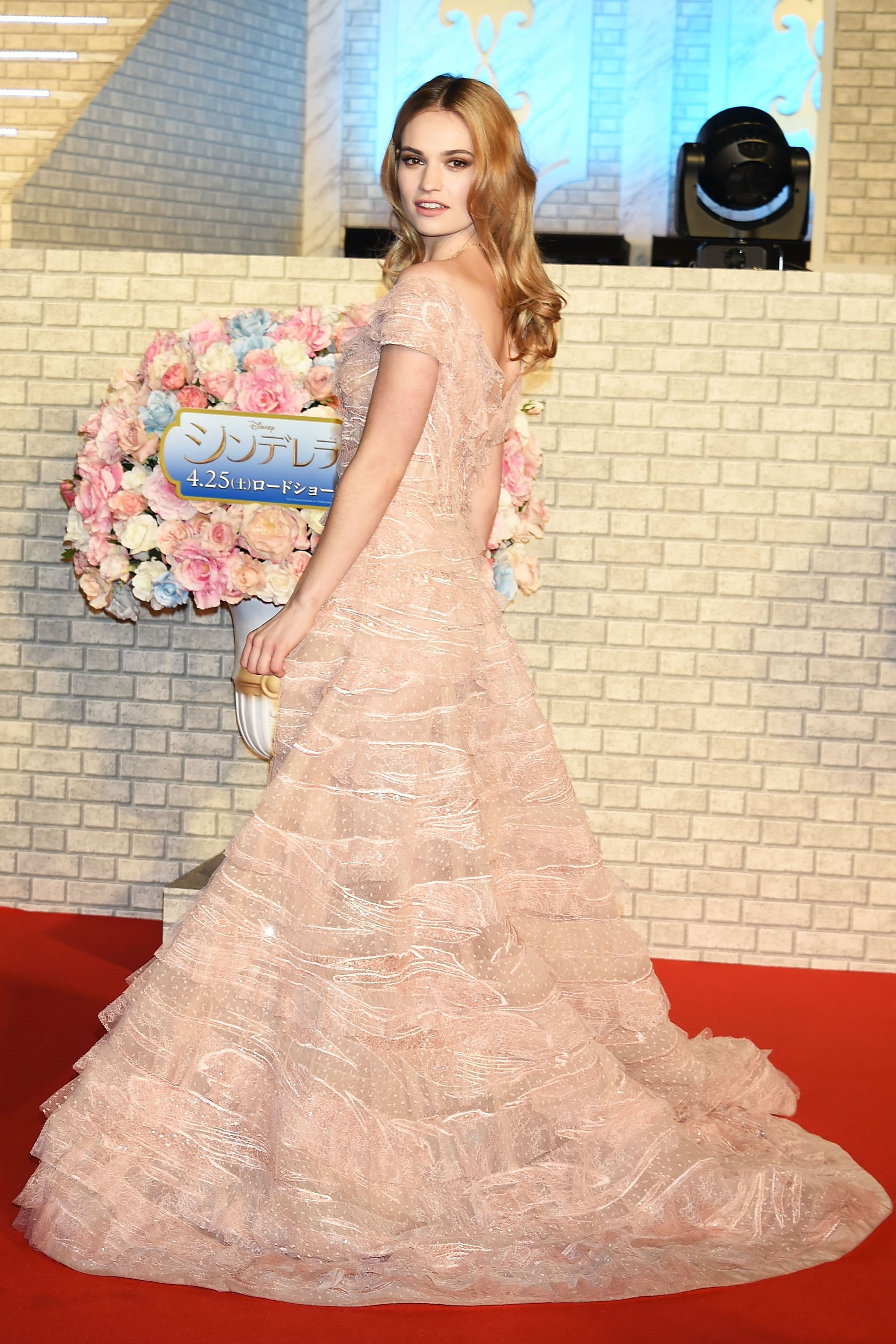 """TOKYO, JAPAN - APRIL 08:  Actress Lily James attends the premiere of """"Cinderella"""" at Roppongi Hills on April 8, 2015 in Tokyo, Japan.  (Photo by Jun Sato/WireImage)"""