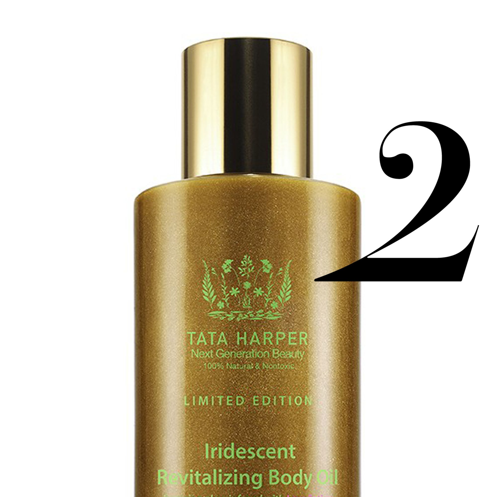 "<strong>Tata Harper</strong> Iridescent Revitalizing Body Oil, $95, <a target=""_blank"" href=""http://www.tataharperskincare.com/iridescent-revitalizing-body-oil"">tataharperskincare.com</a>."